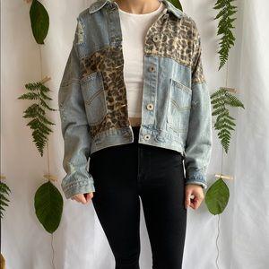 Oversized Leopard Denim Jacket